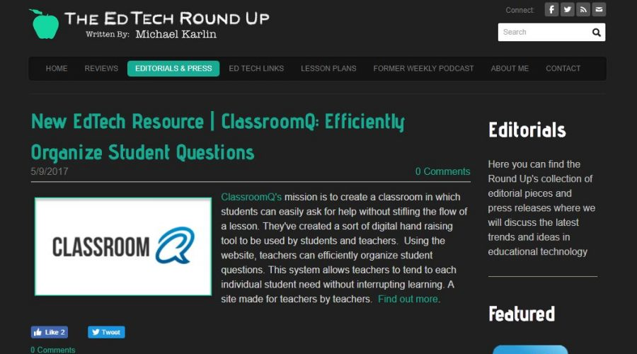 ClassroomQ Featured in The EdTech Round Up